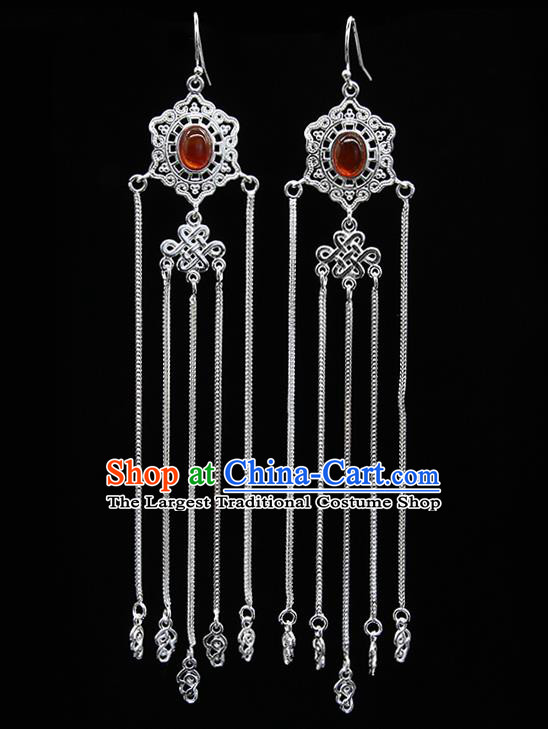 Chinese Traditional Mongolion Ethnic Wedding Sliver Tassel Ear Accessories Mongol Nationality Agate Earrings for Women