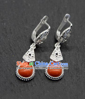 Chinese Traditional Ethnic Wedding Coral Stone Ear Accessories Mongolion Nationality Earrings for Women
