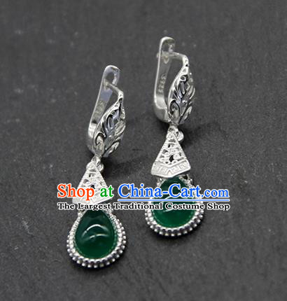 Chinese Traditional Ethnic Wedding Green Agate Ear Accessories Mongolion Nationality Earrings for Women