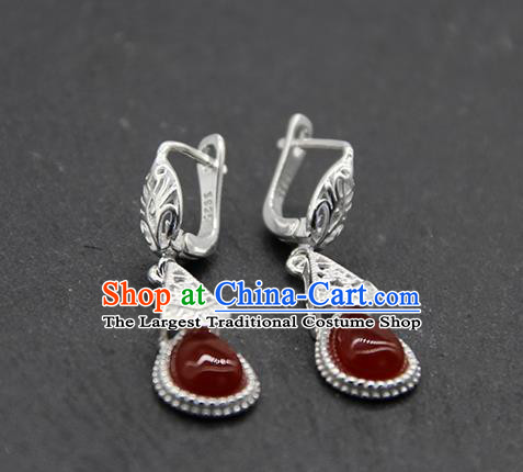 Chinese Traditional Ethnic Wedding Agate Ear Accessories Mongolion Nationality Earrings for Women