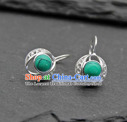 Chinese Traditional Tibetan Ethnic Green Ear Accessories Zang Nationality Earrings for Women