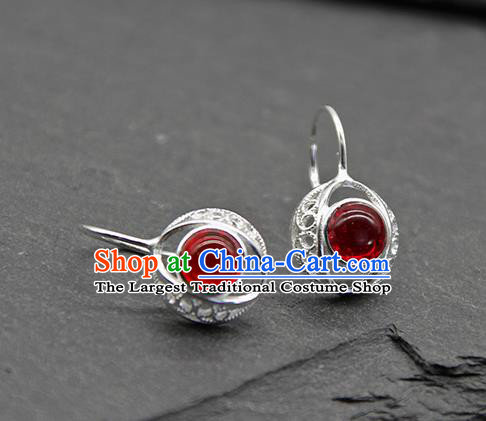 Chinese Traditional Tibetan Ethnic Garnet Ear Accessories Zang Nationality Earrings for Women