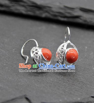 Chinese Traditional Tibetan Ethnic Coral Stone Ear Accessories Zang Nationality Earrings for Women