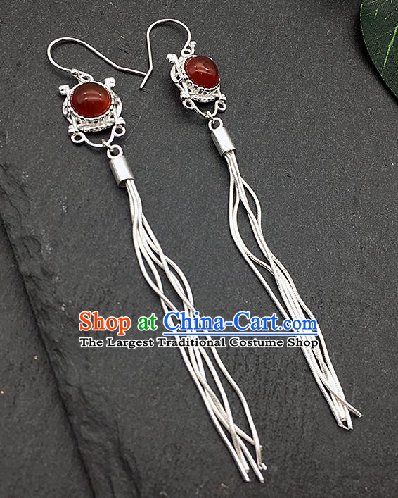 Chinese Traditional Tibetan Ethnic Garnet Sliver Long Tassel Ear Accessories Zang Nationality Earrings for Women