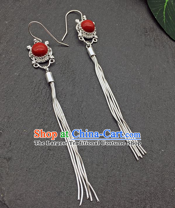Chinese Traditional Tibetan Ethnic Red Sliver Long Tassel Ear Accessories Zang Nationality Earrings for Women