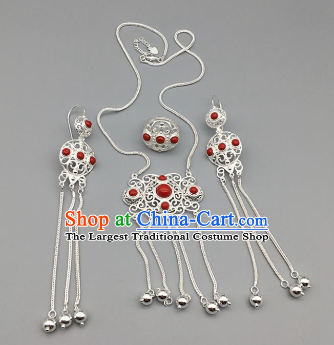 Chinese Traditional Mongolian Ethnic Sliver Accessories Mongol Nationality Red Necklace and Earrings Ring for Women