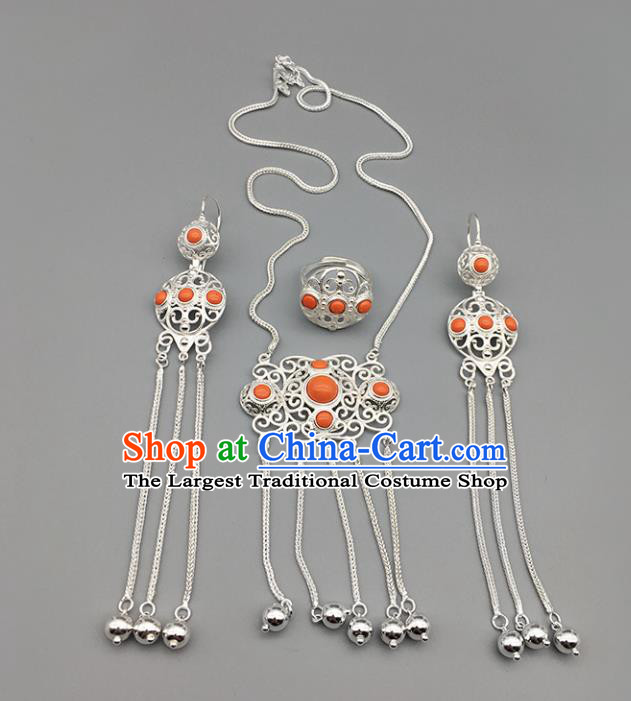 Chinese Traditional Mongolian Ethnic Sliver Accessories Mongol Nationality Coral Stone Necklace and Earrings Ring for Women