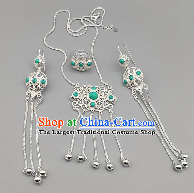 Chinese Traditional Mongolian Ethnic Sliver Accessories Mongol Nationality Kallaite Necklace and Earrings Ring for Women