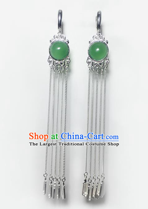 Chinese Traditional Mongolian Ethnic Accessories Mongol Nationality Green Agate Sliver Tassel Earrings for Women