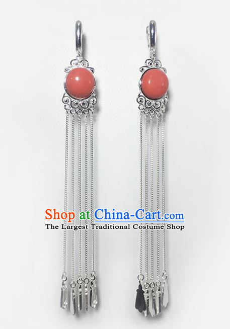 Chinese Traditional Mongolian Ethnic Accessories Mongol Nationality Coral Stone Sliver Tassel Earrings for Women