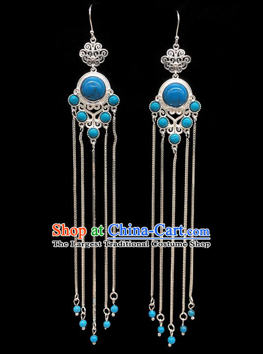 Chinese Traditional Mongolian Ethnic Sliver Accessories Mongol Nationality Blue Earrings for Women