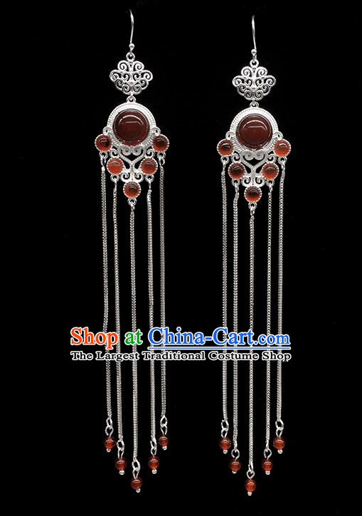 Chinese Traditional Mongolian Ethnic Sliver Accessories Mongol Nationality Garnet Earrings for Women