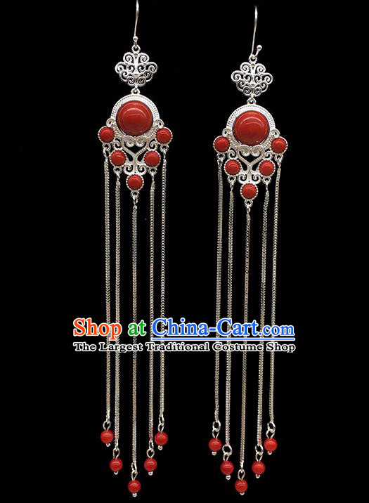 Chinese Traditional Mongolian Ethnic Sliver Accessories Mongol Nationality Red Earrings for Women