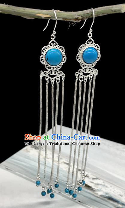 Traditional Chinese Mongolian Ethnic Blue Earring Mongol Nationality Sliver Tassel Ear Accessories for Women