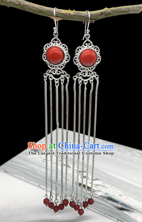 Traditional Chinese Mongolian Ethnic Red Earring Mongol Nationality Sliver Tassel Ear Accessories for Women