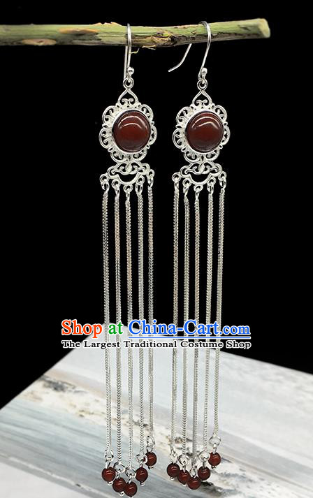 Traditional Chinese Mongolian Ethnic Red Agate Earring Mongol Nationality Sliver Tassel Ear Accessories for Women