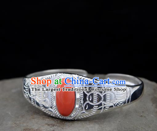 Chinese Traditional Ethnic Coral Stone Bracelet Handmade Zang Nationality Sliver Bangle for Women