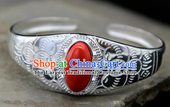 Chinese Traditional Ethnic Red Bracelet Handmade Zang Nationality Sliver Bangle for Women