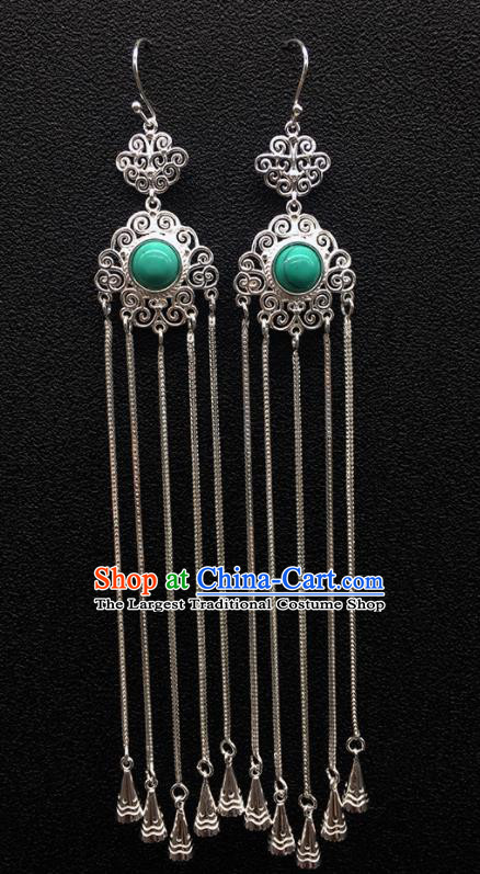 Traditional Chinese Mongolian Ethnic Sliver Tassel Earring Mongol Nationality Green Stone Ear Accessories for Women