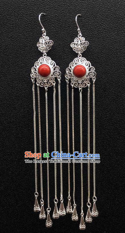 Traditional Chinese Mongolian Ethnic Sliver Tassel Earring Mongol Nationality Red Stone Ear Accessories for Women