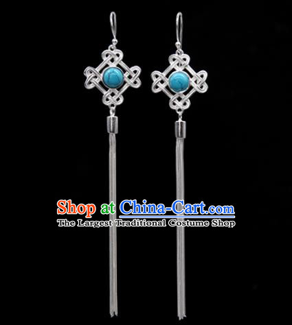 Traditional Chinese Mongolian Ethnic Blue Stone Earring Mongol Nationality Sliver Ear Accessories for Women