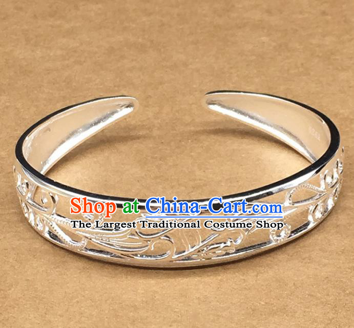 Traditional Chinese Mongolian Ethnic Carving Bracelet Mongol Nationality Sliver Bangle Accessories for Women
