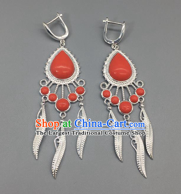 Traditional Chinese Mongolian Coral Stone Earring Mongol Nationality Ethnic Sliver Ear Accessories for Women