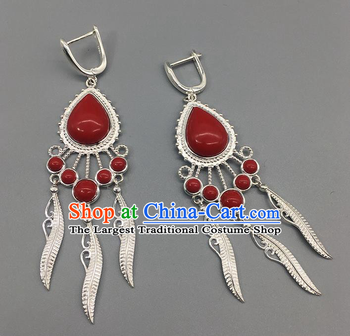 Traditional Chinese Mongolian Red Stone Earring Mongol Nationality Ethnic Sliver Ear Accessories for Women