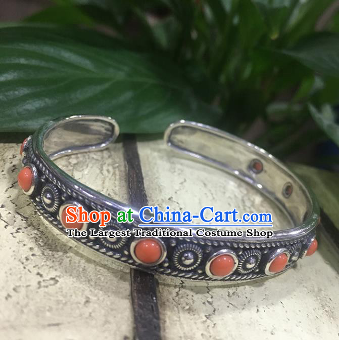Traditional Chinese Mongolian Ethnic Carving Sliver Bracelet Mongol Nationality Coral Stone Bangle Accessories for Women