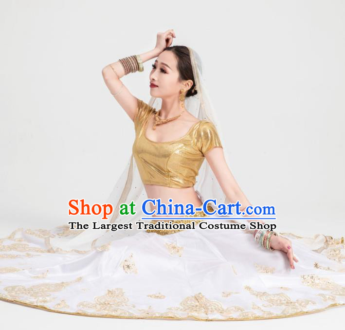Asian India Traditional Costumes South Asia Indian Bollywood Belly Dance Golden Dress for Women