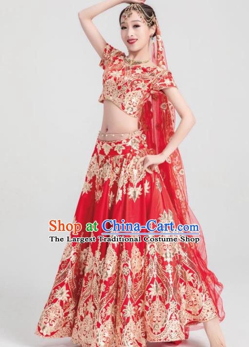 Asian India Traditional Costumes South Asia Indian Bollywood Belly Dance Red Veil Dress for Women