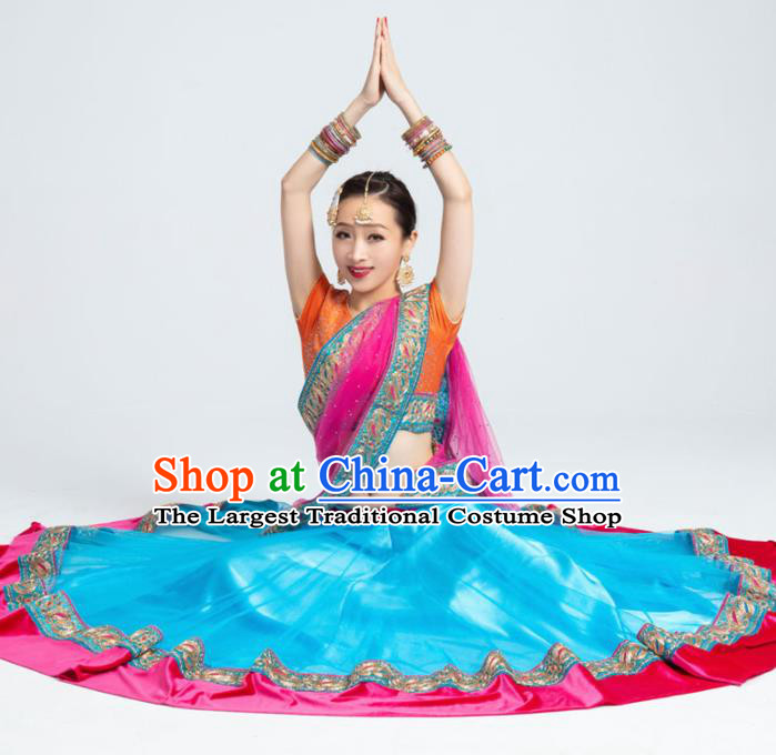 Asian India Traditional Bollywood Costumes South Asia Indian Belly Dance Blue Dress for Women