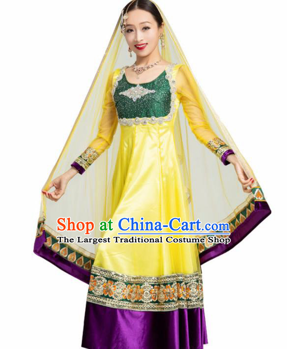 Asian India Traditional Bollywood Costumes South Asia Indian Belly Dance Yellow Dress for Women