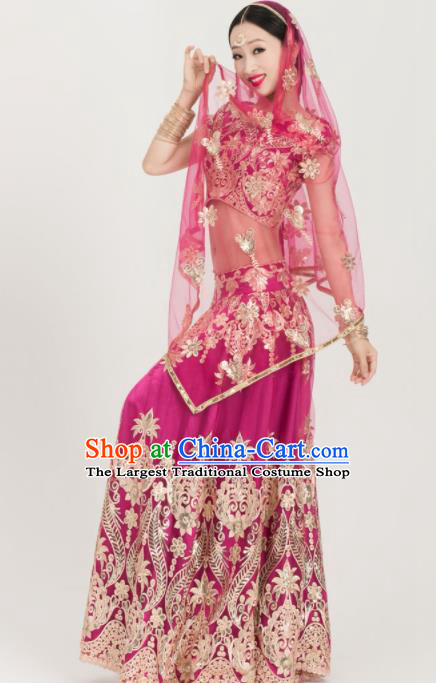 Asian India Sari Traditional Bollywood Costumes South Asia Indian Belly Dance Rosy Dress for Women