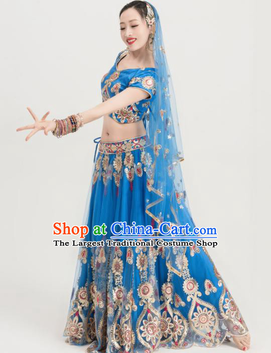 Asian India Sari Traditional Bollywood Costumes South Asia Indian Belly Dance Blue Dress for Women