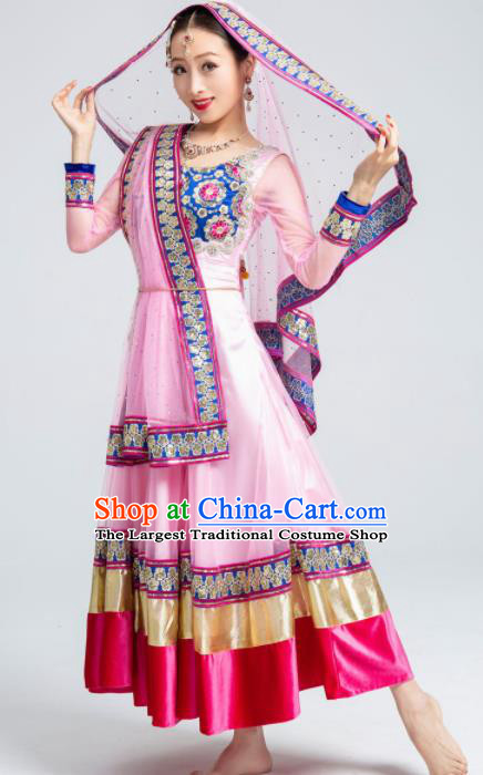 Asian India Sari Traditional Bollywood Costumes South Asia Indian Princess Belly Dance Pink Dress for Women