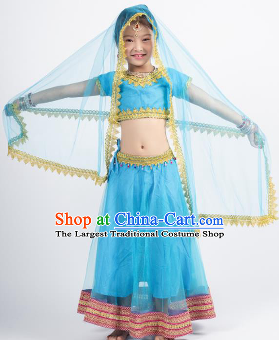 Asian India Blue Sari Traditional Bollywood Costumes South Asia Indian Princess Belly Dance Dress for Kids