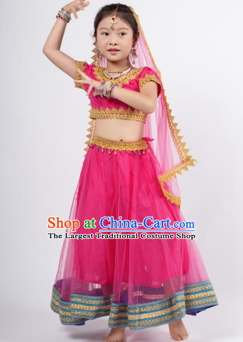 Asian India Rosy Sari Traditional Bollywood Costumes South Asia Indian Princess Belly Dance Dress for Kids