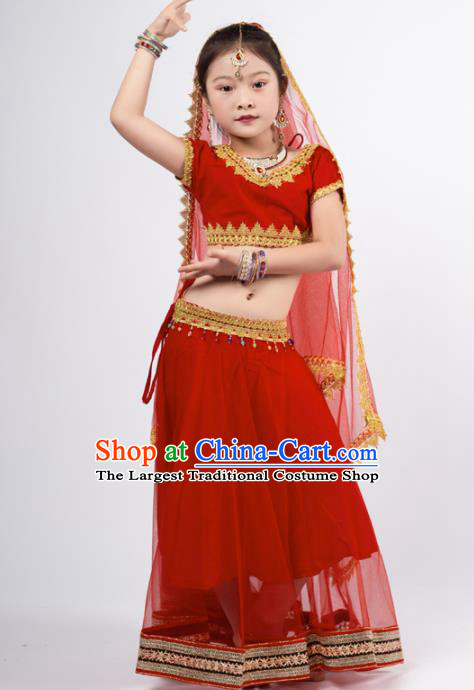 Asian India Red Sari Traditional Bollywood Costumes South Asia Indian Princess Belly Dance Dress for Kids