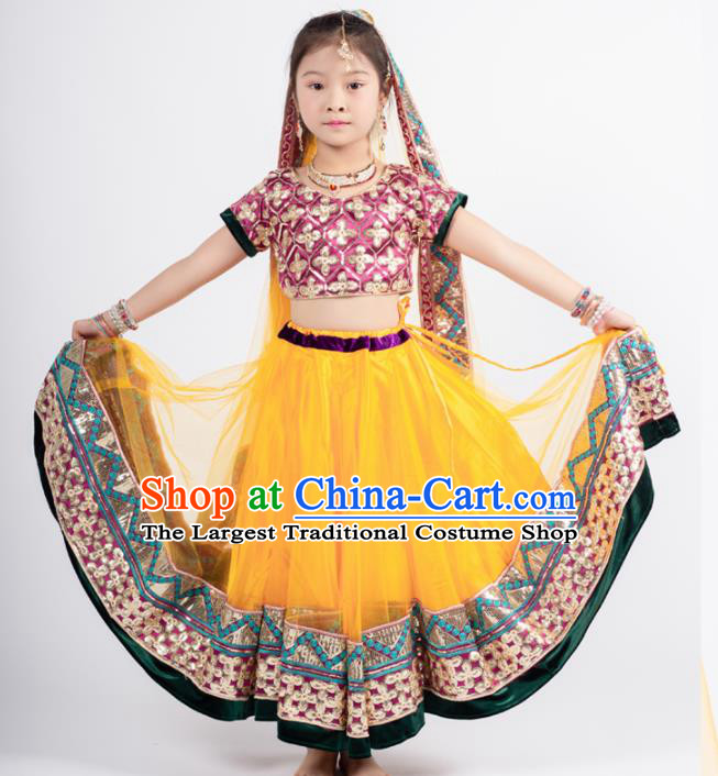 Asian India Sari Traditional Bollywood Costumes South Asia Indian Princess Belly Dance Yellow Dress for Kids