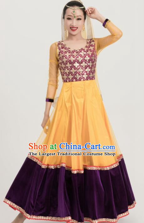 Asian India Traditional Sari Bollywood Belly Dance Costumes South Asia Indian Princess Yellow Dress for Women