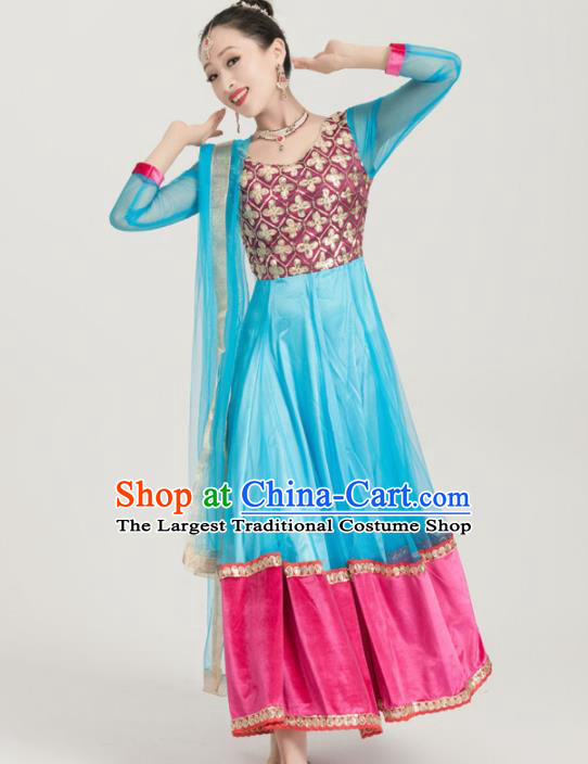 Asian India Traditional Sari Bollywood Belly Dance Costumes South Asia Indian Princess Blue Dress for Women