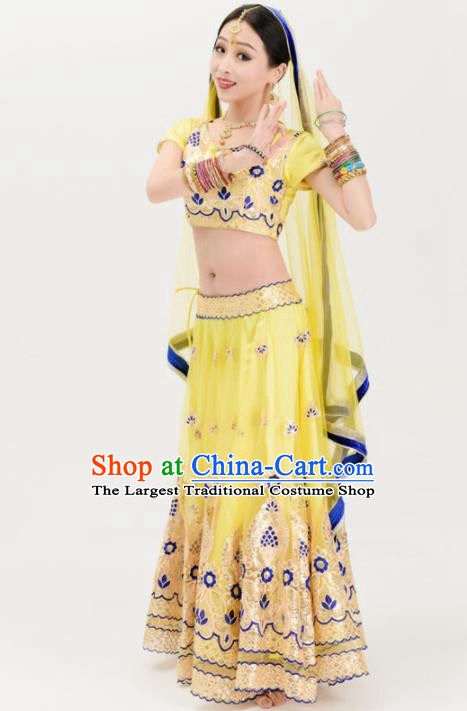 Asian India Traditional Yellow Sari Bollywood Belly Dance Costumes South Asia Indian Princess Dress for Women