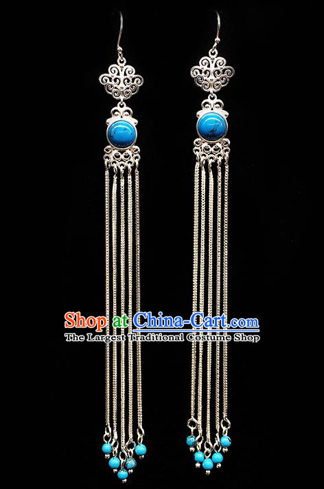 Traditional Chinese Mongolian Ethnic Long Tassel Earring Mongol Nationality Blue Stone Ear Accessories for Women