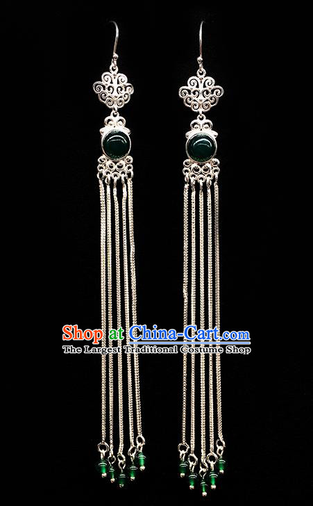 Traditional Chinese Mongolian Ethnic Long Tassel Earring Mongol Nationality Green Bead Ear Accessories for Women