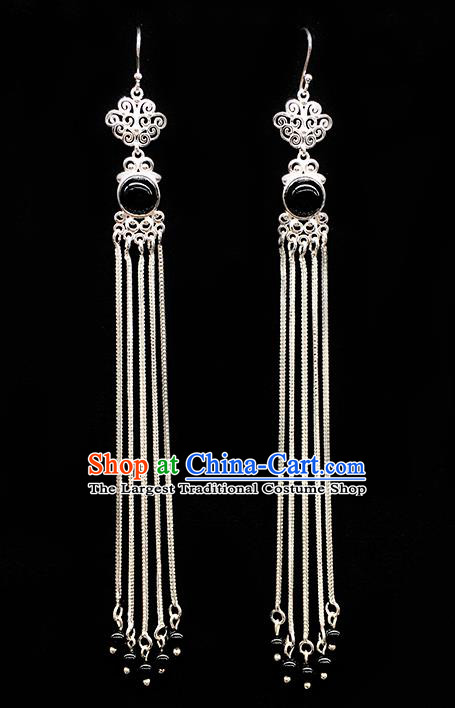 Traditional Chinese Mongolian Ethnic Long Tassel Earring Mongol Nationality Black Bead Ear Accessories for Women