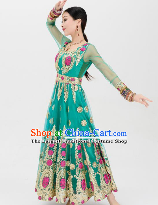 Asian India Traditional Green Sari Bollywood Belly Dance Costumes South Asia Indian Princess Dress for Women