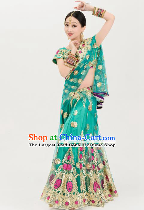Asian India Traditional Sari Bollywood Belly Dance Costumes South Asia Indian Princess Green Dress for Women