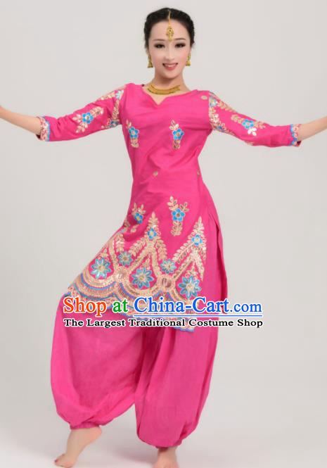 Asian India Traditional Bollywood Rosy Costumes South Asia Indian Princess Sari Dress for Women