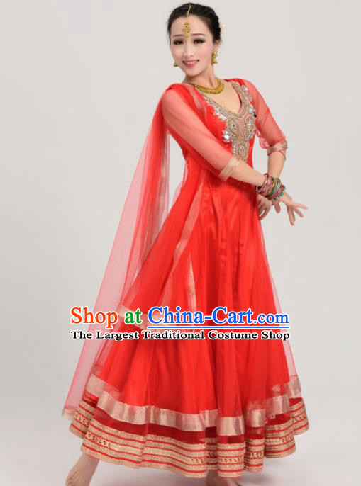 Asian India Traditional Bollywood Costumes South Asia Indian Belly Dance Red Veil Sari Dress for Women